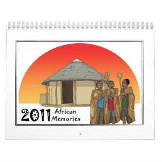 Estudio africano de /Eish de las memorias Calendario