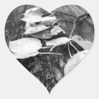 Estudio blanco y negro de la hoja de BWLS Pegatina En Forma De Corazón