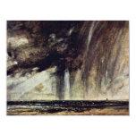 Estudio con la nube de lluvia, paisaje marino del invitación 10,8 x 13,9 cm