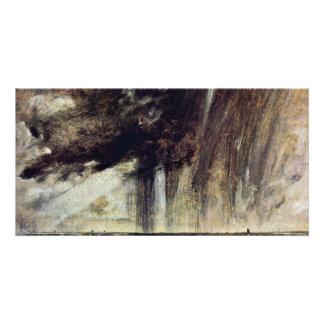 Estudio con la nube de lluvia, paisaje marino del tarjetas fotográficas personalizadas