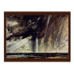 Estudio con la nube de lluvia, paisaje marino del  tarjetas postales