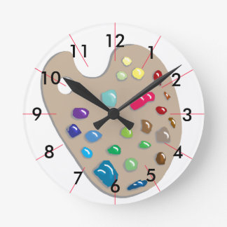 Estudio CricketDiane de la pintura de la paleta de Reloj Redondo Mediano