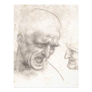 """Estudio de dos cabezas de los guerreros de folleto 8.5"""" x 11"""""""