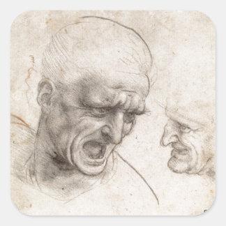 Estudio de dos cabezas de los guerreros de Leonard Calcomanía Cuadrada Personalizada