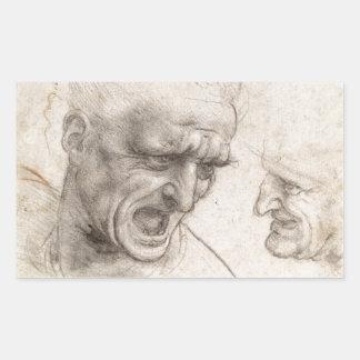 Estudio de dos cabezas de los guerreros de pegatina rectangular