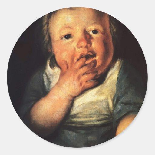 Estudio de Jacob Jordaens- del pequeño niño Pegatina Redonda