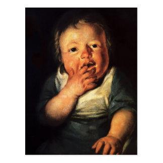 Estudio de Jacob Jordaens- del pequeño niño Tarjeta Postal