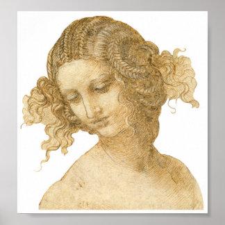 Estudio de la cabeza de una mujer, Leonardo da Vin Póster