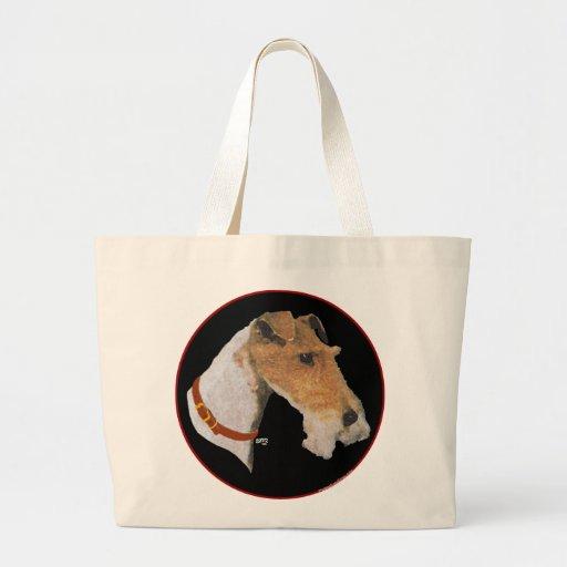 Estudio de la cabeza del fox terrier del alambre bolsas de mano