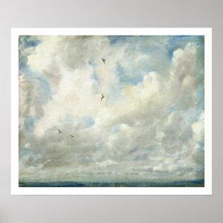 Estudio de la nube, 1821 (aceite en el papel coloc póster