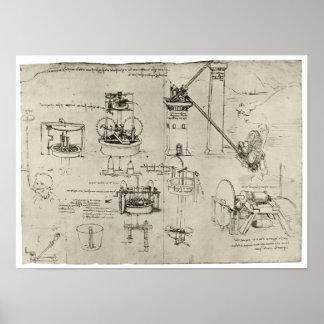 Estudio de las bombas de succión, Leonardo da Vinc Póster
