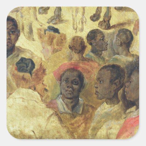 Estudio de las cabezas del Moorish Pegatina Cuadrada