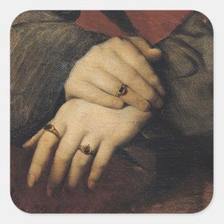Estudio de las manos de una mujer pegatina cuadrada