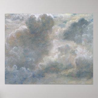 Estudio de las nubes de cúmulo, 1822 (aceite en o  poster