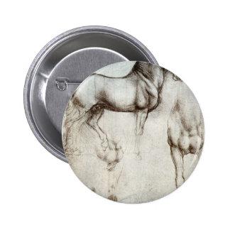 Estudio de los caballos - Leonardo da Vinci Pin Redondo 5 Cm