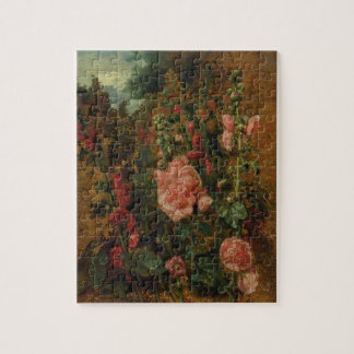 Estudio de los Hollyhocks, c.1826 (aceite a bordo) Puzzle
