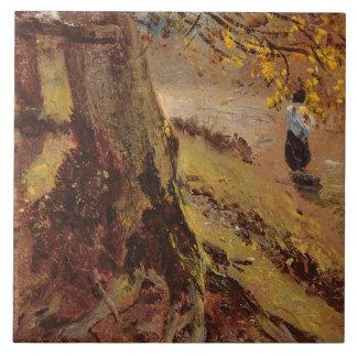 Estudio de los troncos de árbol azulejo cuadrado grande