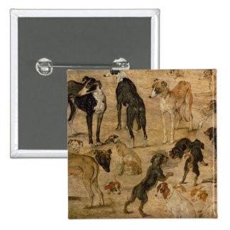 Estudio de perros, 1616 pin cuadrada 5 cm