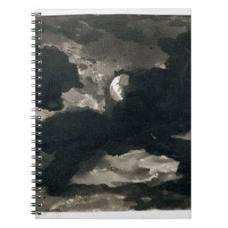 Estudio de un cielo iluminado por la luna nublado  libretas