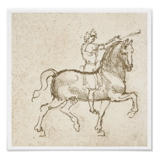 Estudio de un jinete, Leonardo da Vinci Póster