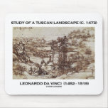 Estudio de un paisaje toscano Leonardo da Vinci 14 Tapetes De Ratones