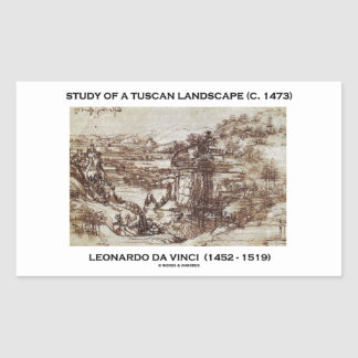 Estudio de un paisaje toscano (Leonardo da Vinci) Pegatina Rectangular