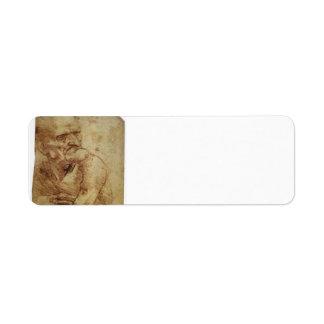 Estudio de un viejo hombre de Leonardo da Vinci Etiquetas De Remite