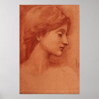 Estudio de una cabeza femenina, Edward Burne-Jones Póster