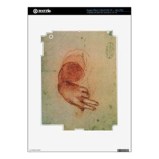 Estudio de una mano (tiza roja en el papel) iPad 3 pegatina skin