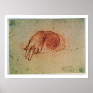 Estudio de una mano (tiza roja en el papel) póster