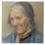 Estudio de una mujer mayor, 1912 (w/c en el papel) azulejo cuadrado grande