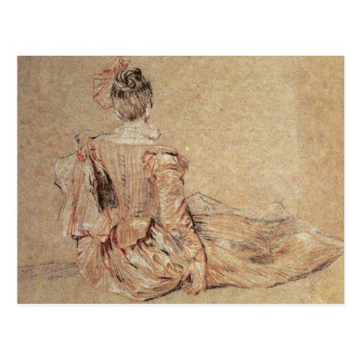 Estudio de una mujer vista de la parte posterior,  postal