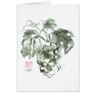 Estudio de uvas, pintura de la tinta de Sumi-e Felicitación
