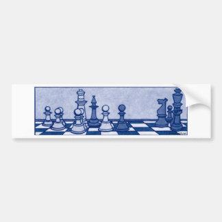 Estudio del ajedrez en azul pegatina para auto