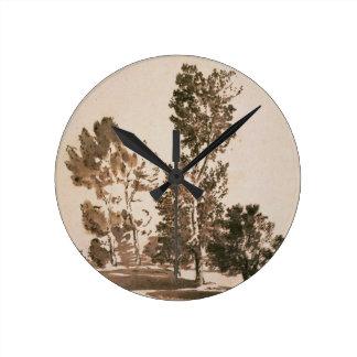 Estudio del árbol (pluma y tinta en el papel) reloj redondo mediano