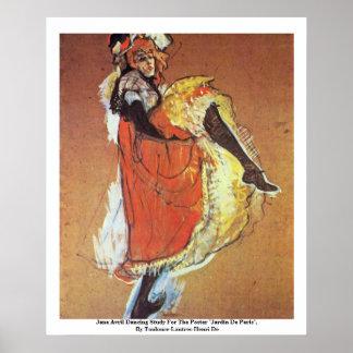 Estudio del baile de Jane Avril para el poster