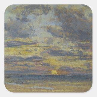 Estudio del cielo con el sol poniente, c.1862-70 pegatina cuadrada