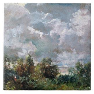 Estudio del cielo y de los árboles (aceite en lona azulejo cuadrado grande