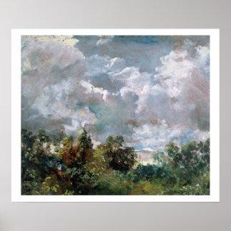 Estudio del cielo y de los árboles (aceite en lona posters