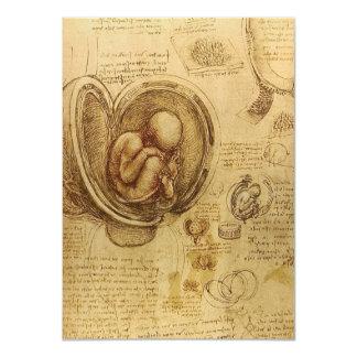 """Estudio del feto del bebé de Leonardo da Vinci Invitación 4.5"""" X 6.25"""""""