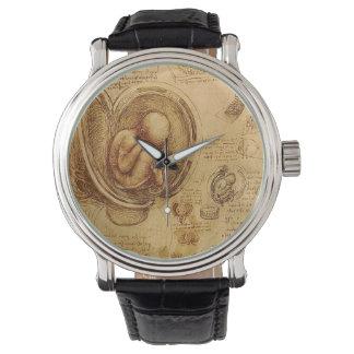 Estudio del feto del bebé de Leonardo da Vinci Relojes De Mano