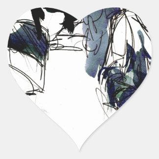 estudio del grupo pegatina en forma de corazón