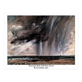 Estudio del paisaje marino con la nube de lluvia d postal