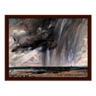 Estudio del paisaje marino con la nube de lluvia d tarjeta postal