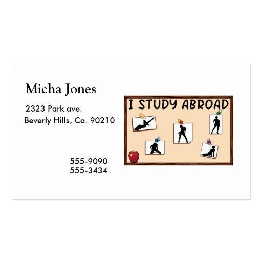 Estudio en el extranjero plantillas de tarjeta de negocio