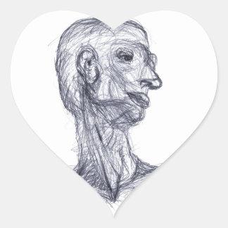 Estudio humano pegatina en forma de corazón