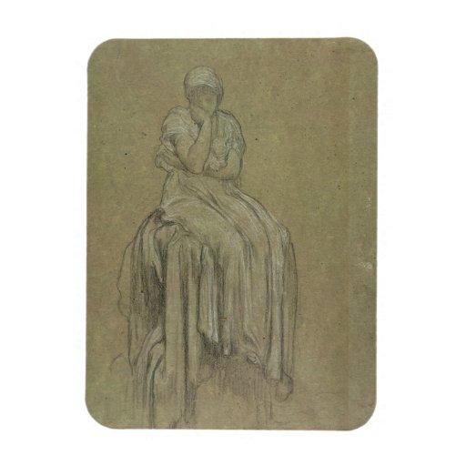 Estudio para la soledad, c.1890 (tiza en el papel) imanes de vinilo