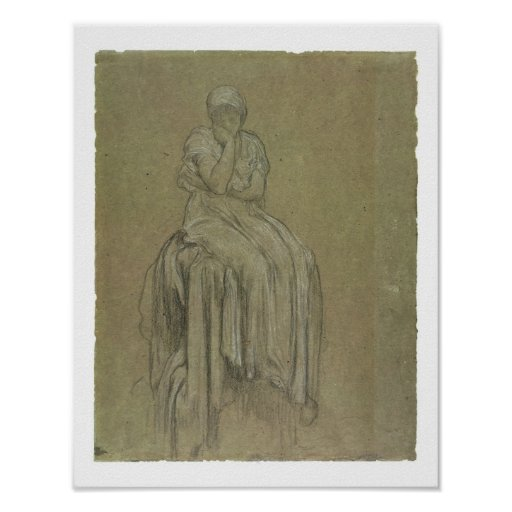 Estudio para la soledad, c.1890 (tiza en el papel) póster