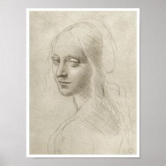 """Estudio para la """"Virgen de las rocas"""", da Vinci Póster"""