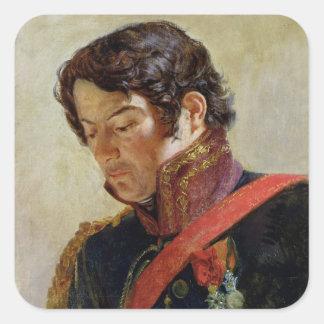 Estudio para un retrato de barón Dominique Larrey Pegatina Cuadrada